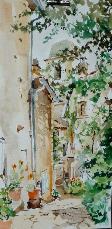Simiane la Rotonde - ruelle et clocher - Watercolor,  20x40 cm ©2015 par Émile THIBAUT -                                                            Art figuratif, Papier, Paysage, provence, ruelle