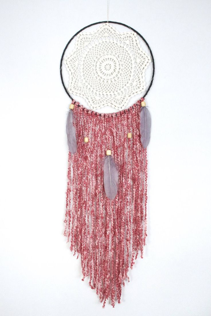 Vintage beige doily dreamcatcher with pink yarn and charcoal feathers, wood beads, 12 inch dream catcher, unique doily, boho decor by autumnandlilydesigns on Etsy https://www.etsy.com/ca/listing/557814292/vintage-beige-doily-dreamcatcher-with