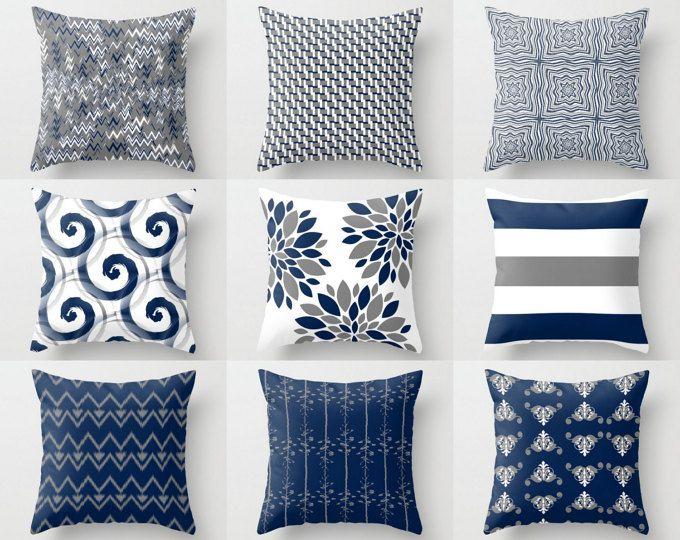 Funda de almohada, fundas de almohada, azul marino blanco gris, acento almohadas, fundas, blanco cojín y almohadas decorativas decoración marina