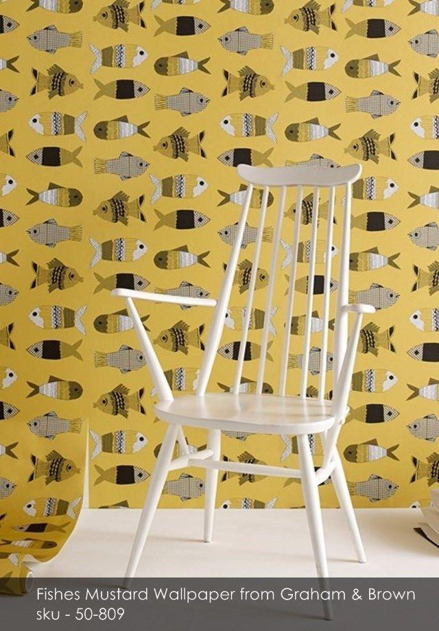 Fishes Mustard wallpaper from Graham