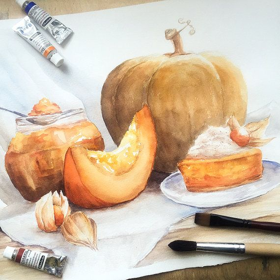 Pumpkin Madness Watercolor Painting & Print by Mangorielle on Etsy