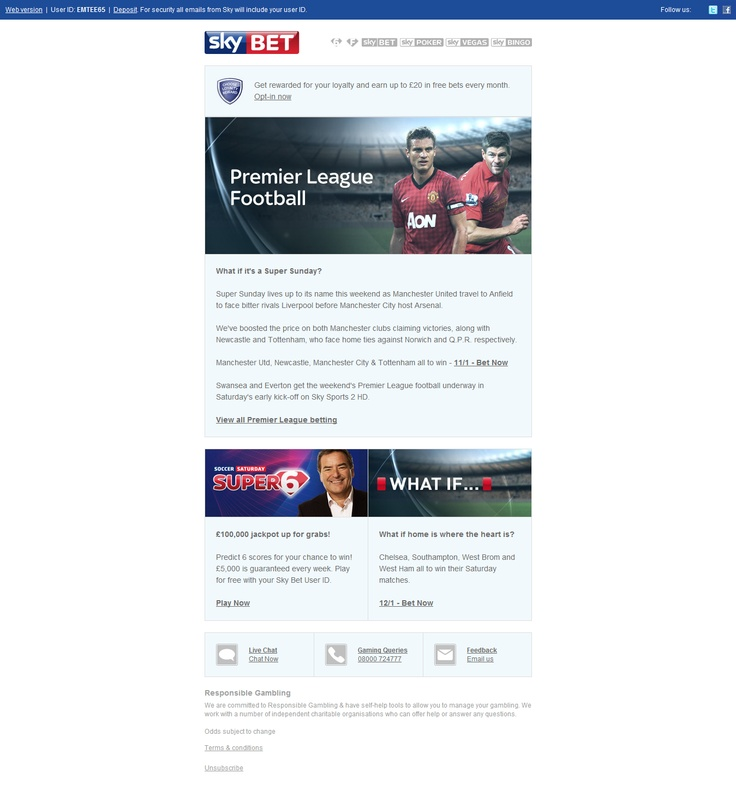 Sky Sports Bet Email Design