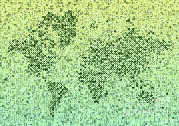 World Map Kotak In Green by elevencorners. World map wall print decor. #elevencorners #mapkotak