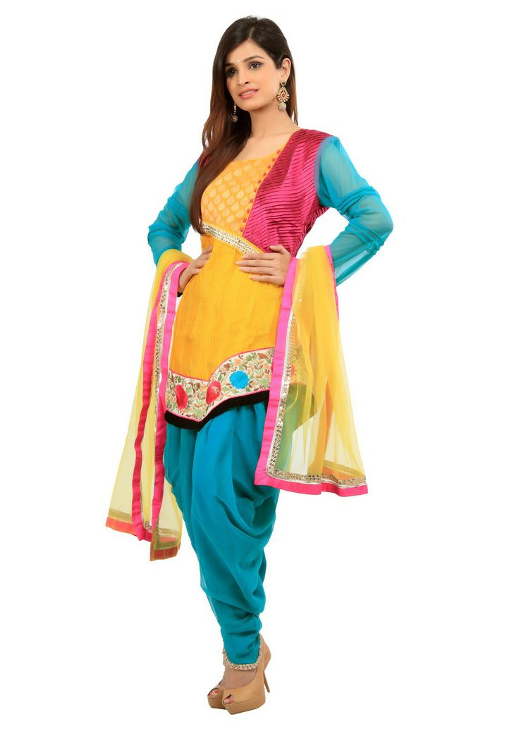 Yellow pin tuck patiala suit with floral embroidery border