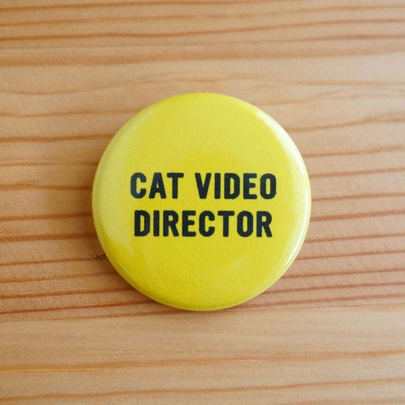 Cat Video Director 1.5 inch Pinback Button by bynelliele on Etsy