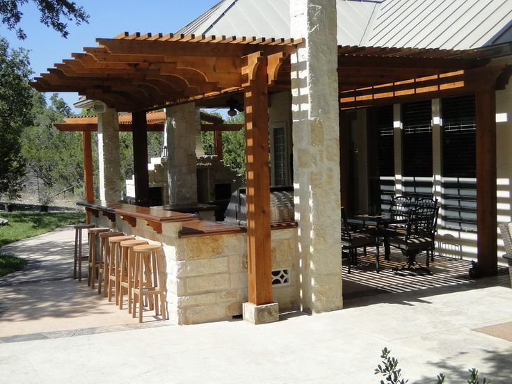 rustic outdoor fireplaces   Rustic Outdoor Kitchen Designs with Fireplace