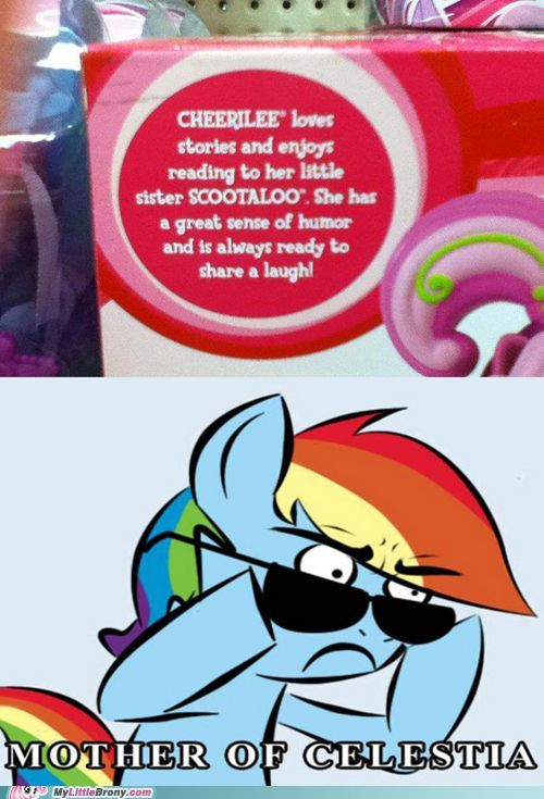 The reason why: Cheerilee and Scootaloo are sisters. So there parents must have been an earth pony and Pegasus. Since they are a family, they must of had to grow up on land, showing how Scootaloo doesn't know how to fly very well. That's why she looks up to Rainbow Dash as a mentor because she's a great flyer!: