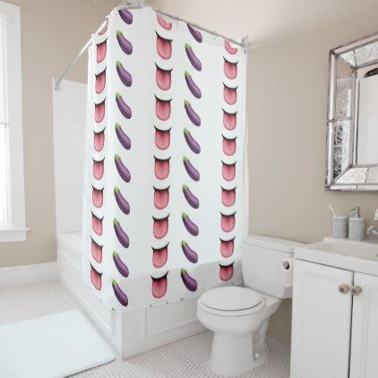 valentine emoji tongue eggplant shower curtain - shower gifts diy customize creative