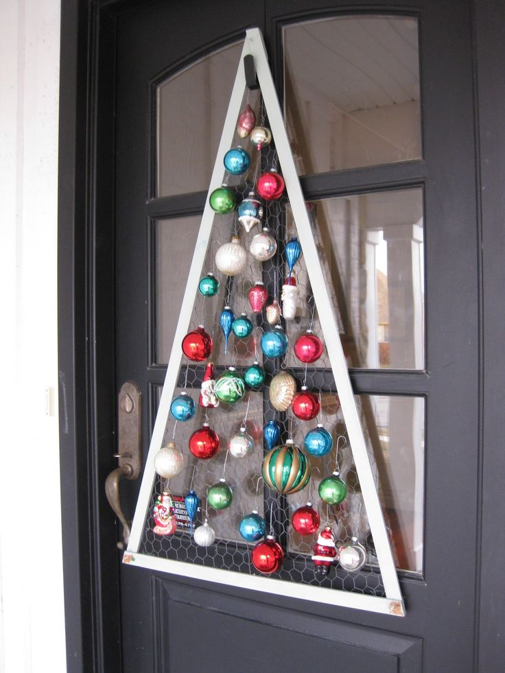 christmas tree frame backed with chicken wire