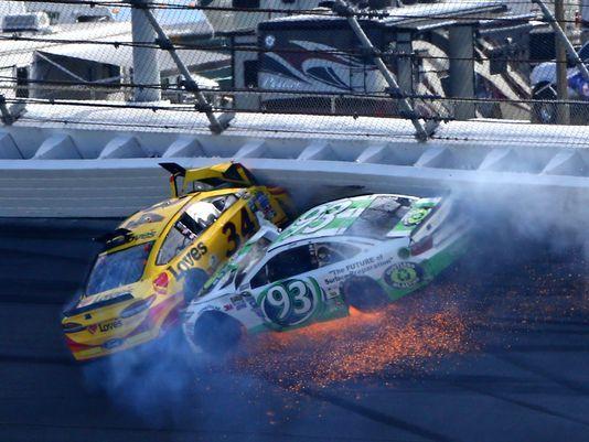 VIDEO:   Chris Buescher (34) and Matt Dibenedetto (93) crash in Turn 1 during the 2016 Daytona 500. (Photo: Mark J. Rebilas, USA TODAY Sports)   buescher-crash