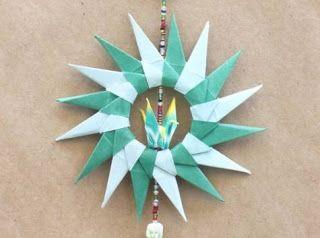 No rastro da memória (Santa Rita do Sapucaí): A arte do Origami - Guirlanda de Natal V
