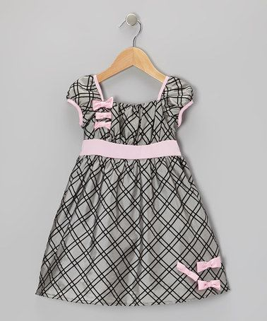 Take a look at this Silver & Pink Bow Taffeta Dress - Infant, Toddler & Girls by Joe-Ella on #zulily today!