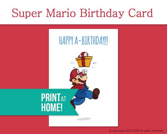Printable Super Mario Birthday Card Greeting Cards Digital Etsy Super Mario Birthday Mario Birthday Birthday Cards