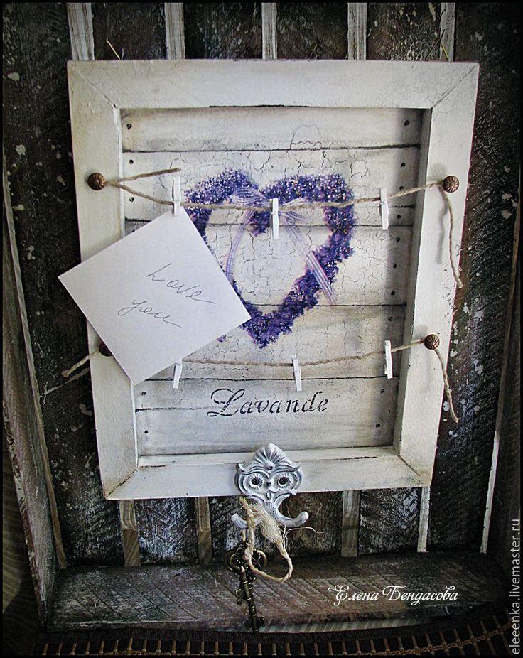 Купить Вешалка-ключница в стиле Прованс - черно-белый, лаванда, стиль прованс, сердце, ключница