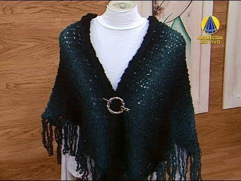 ▶ Sabor de Vida | Xale Marina por Vitória Quintal - 29 de Agosto de 2013 - YouTube ensina aumentos de tricô