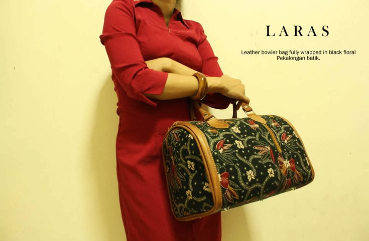 Laras bowler handbag made from Black Floral Pekalongan batik and leather handle.  djokdjabatik.com