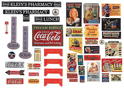 HO Scale Printable Signs | ... DRUGSTORE & PHARMACY SIGNS 1930-50'S - JL INNOVATIVE - HO Scale