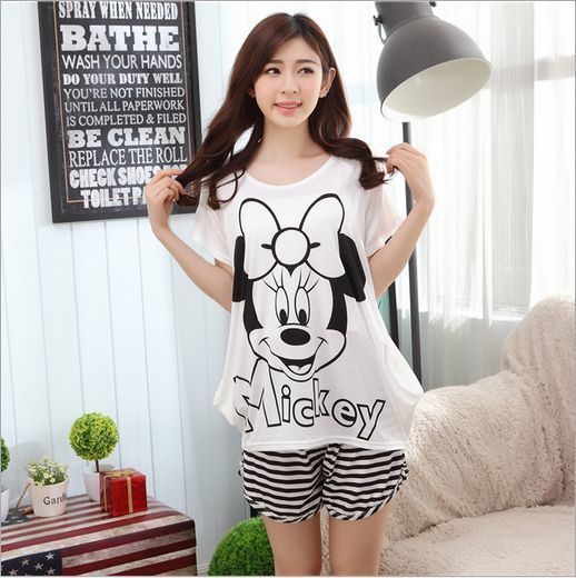 Factory outlets! Women's fashion sweet Sleepwear Short sleeve Shorts Cartoon characters printing pajamas Leisure Indoor Clothing