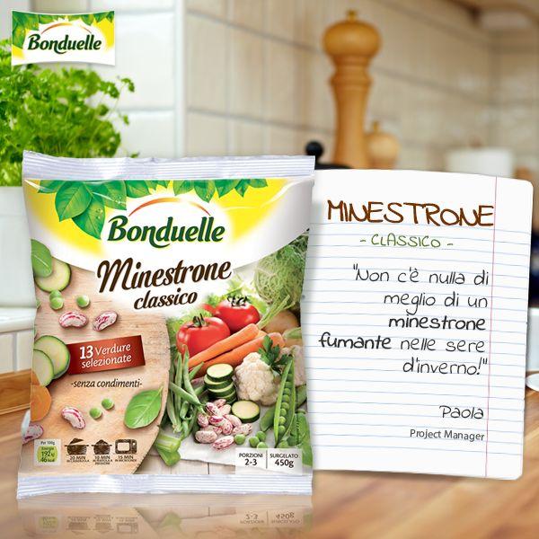 Il #Minestrone classico #Bonduelle è fatto di 13 verdure selezionate. Pronto per scaldarti nelle fredde sere d'inverno in pochi minuti!