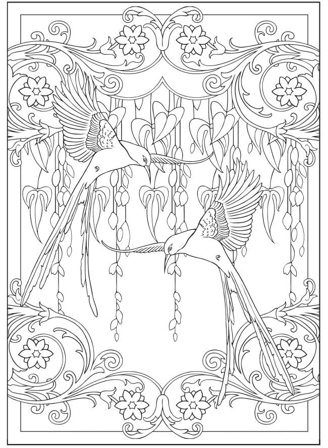 creative coloring birds art activity pages to relax and enjoy | Creative Haven Art Nouveau Designs Collection Coloring ...
