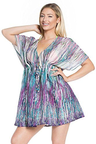 La Leela Soft Cotton Cover Up Dress Women Plus Beach Wear Caftan Swim Top Violet. Do YOU want COVER UPS in other colors Like Red   Pink   Orange   Violet   Purple   Yellow   Green   Turquoise   Blue   Teal   Black   Grey   White   Maroon   Brown   Mustard   Navy ,Please click on BRAND NAME LA LEELA above TITLE OR Search for LA LEELA in Search Bar of Amazon. US Size : From Regular 14 (L) TO Plus Size 24W (3X) ➤ UK SIZE : FROM REGULAR 14 (M) TO 28 (XXXL) ➤ BUST : 52 Inches [ 132 cms ]➤ Length…