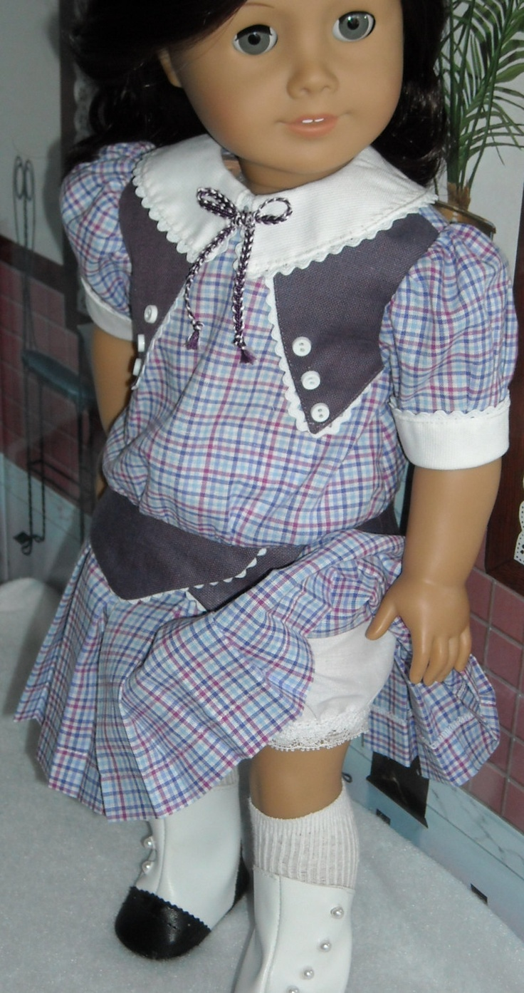 RESERVED 1914 Purple Check Frock for 18 inch Girls like Rebecca & others. $55.00, via Etsy.