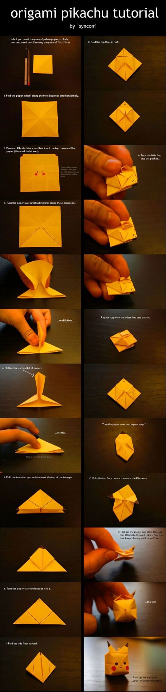 Origami Pikachu. | Geeky Things | Pinterest | Pikachu ... Pokemon Pikachu