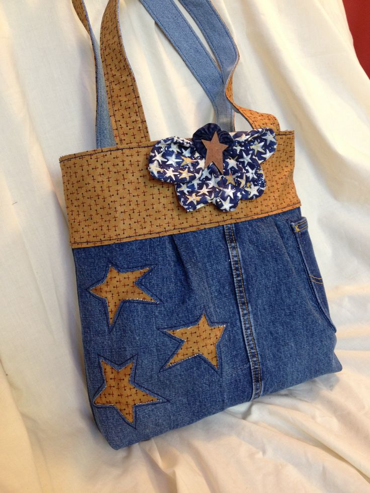 Denim purse with stars and handles in contrasting fabric, cute ribbon accent