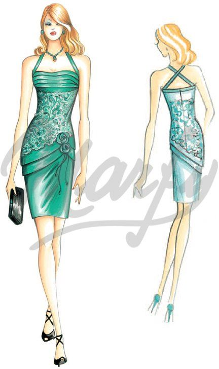 Model 2852 | Sewing Pattern Dress - sheath dress w/interplay of folds at neckline, skirt has diagonal pleats & fabric roses.