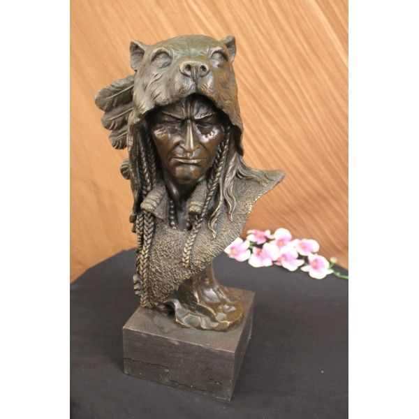 ON SALE !!! Signed Barye Native American Chief In Bear Headdress Bronze Sculpture...A Native American Has To Earn His Headdress. Their Meaning And Power Are Quite Profound. This Noble Native American Wears His Wolf Headdress Adorned With Four Feathers On The Back Of Its Head. Each Feather And The Headdress Was Earned From A Separate Act Of Valor. Animal Headdresses Were Believed To Possess The Impressive Powers Of The Animal. The Wolf Symbolized Fierce Desire For Independence As Well As A…