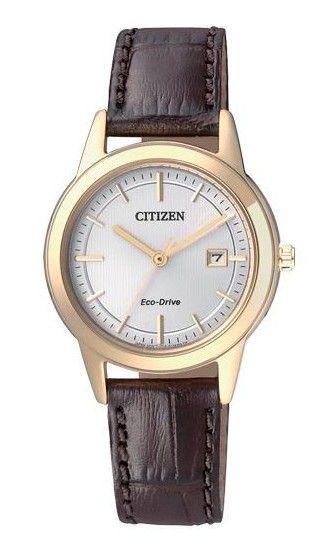 Montre Citizen Eco-Drive Femme FE1083-02A, boîtier acier et bracelet en cuir marron, mouvement solaire.