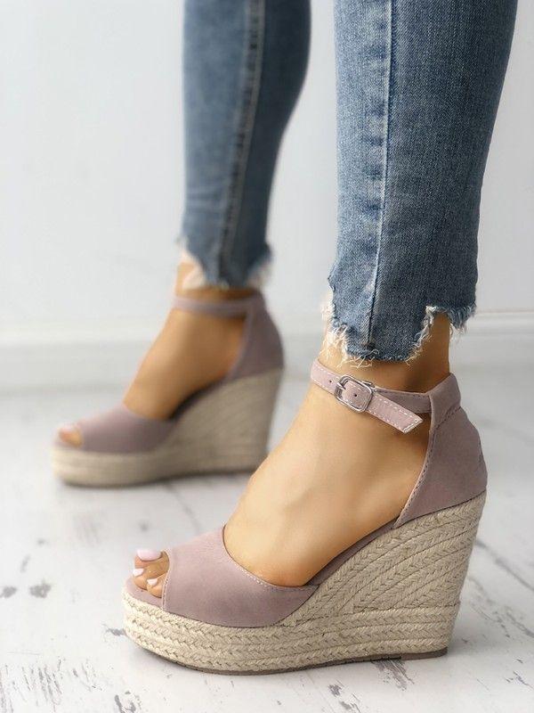 d0d46b73435 Ankle Strap Espadrille Wedge Sandals