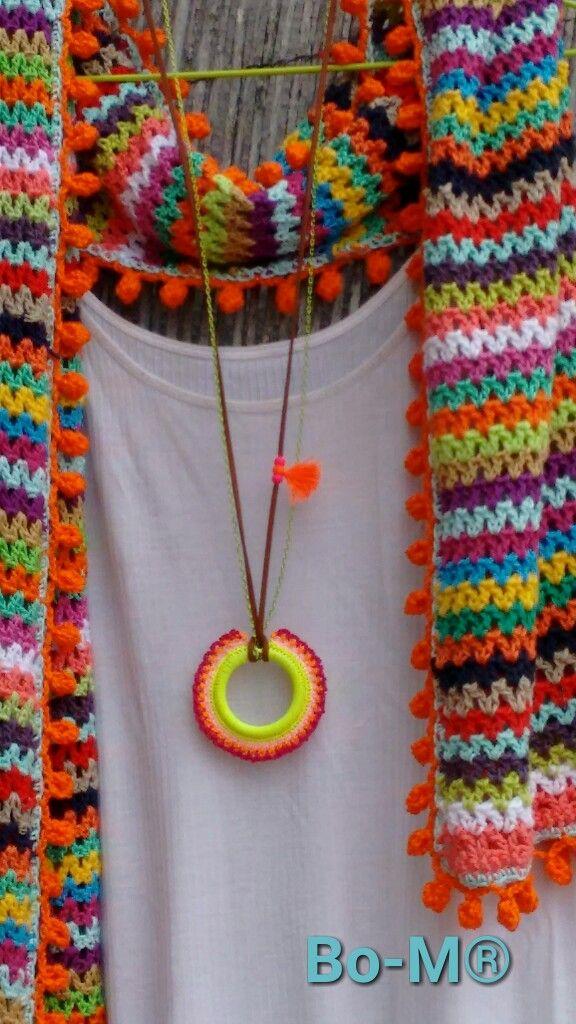 V-Stitch crochet wide scarf shawl with bobble edging.