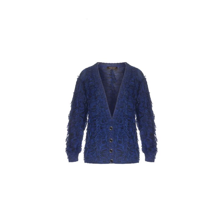 Naughty Dog #FW1415 blue tricot cardigan with fringes.