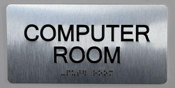 Computer Room Sign Ada Tactile Touch Braille Sign Aluminium Brush Silver Size 4x8 The Sensation Line Tactile Signs In 2020 Computer Room Room Signs Ada Signs