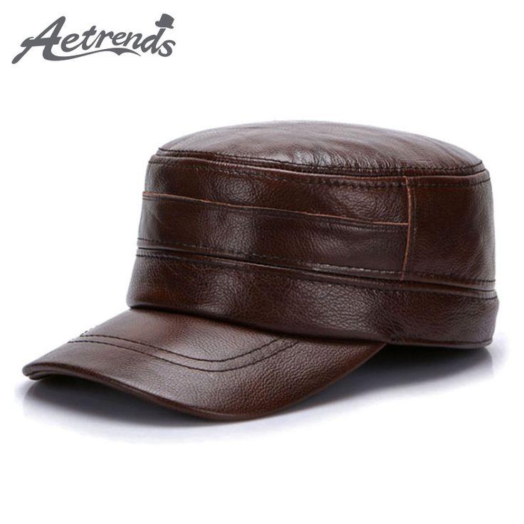2017 New Winter 100% Leather Military Cap Men Sailor Captain Caps Genuine Leather Military Hats Z-5490