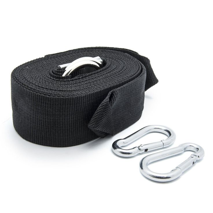 """iSKYS Prime Garden Versatile Adventure High Tensile Nylon Hammock Tree Straps with 2 Metal Snap Hook, 120"""" x 2"""", Black. Set of 2 Nylon hammock tree straps- each 120 inch long, 2 inch wide. - set of 2 improved metal snap hook - better than other stainless steel s-hook. Safely supports up to 660Lbs - 2 straps added up. Length: 116"""" and width: 2"""". Make it a breeze to set up and take down in seconds."""