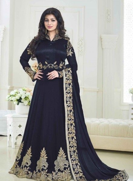 f623c40058 475032 Blue color family Bollywood Salwar Kameez in Art Silk,Faux Georgette  fabric with Machine Embroidery,Thread,Zari work .