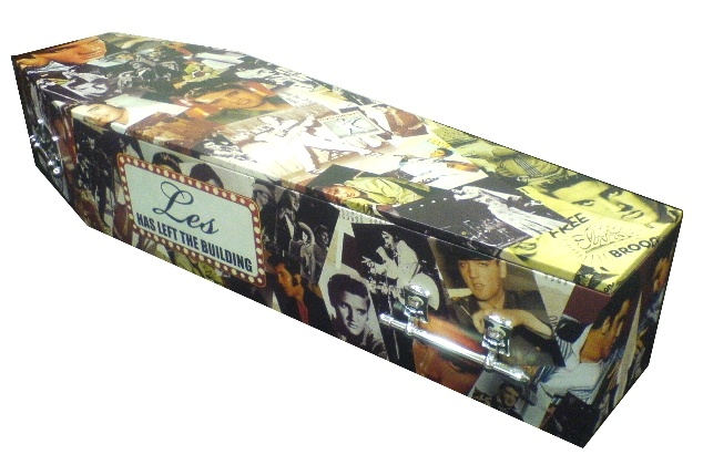Custom design for an Elvis fan. Made from X-Board. lifeartcoffins.com | Xanita.com