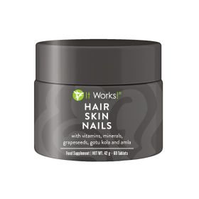 It Works! Hair Skin Nails is packed with essential vitamins, minerals, and plant-based nutrients! Zinc and selenium contribute to the maintenance of normal healthy hair and nails Biotin contributes to the maintenance of normal hair and skin