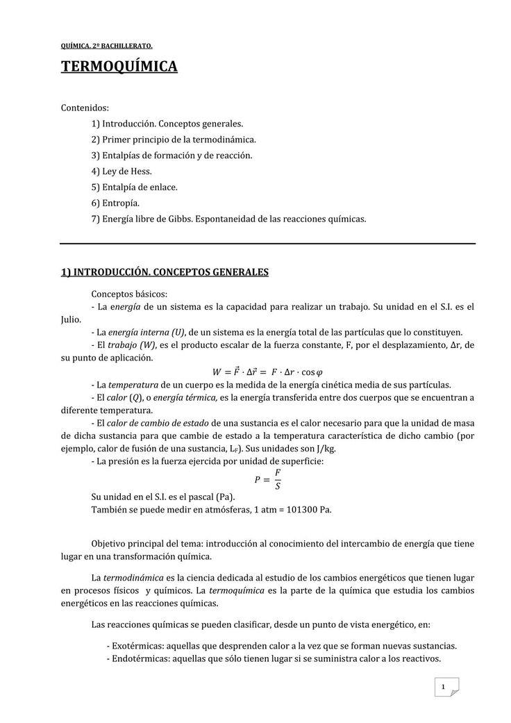 Apuntes Química. Termoquímica #Química #Termoquímica.