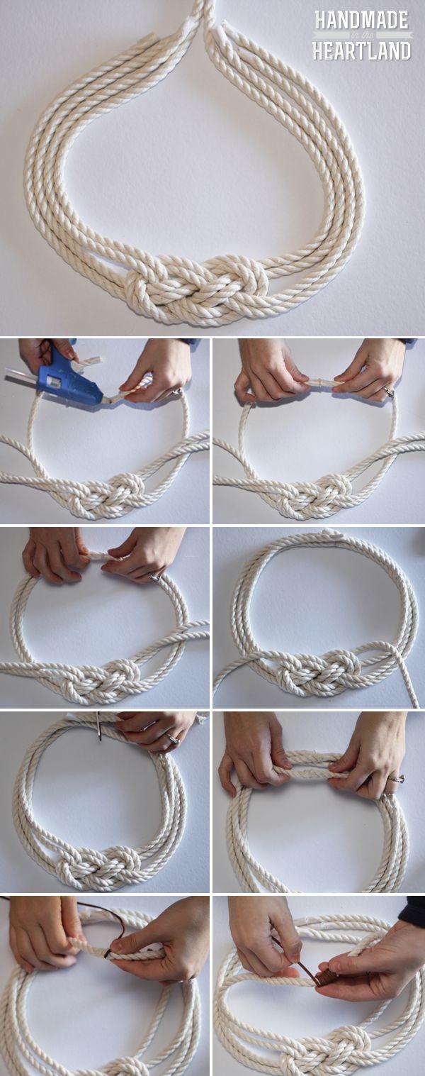 DIY Colar nó da corda náutica