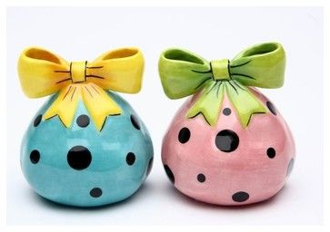 2.25 Inch Pink and Blue Polka Dot Dilly Dots Salt and Pepper Shakers - eclectic - Food Containers And Storage - StealStreet