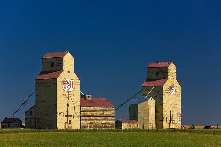 Grain Elevators in Mossleigh, Alberta, Canada