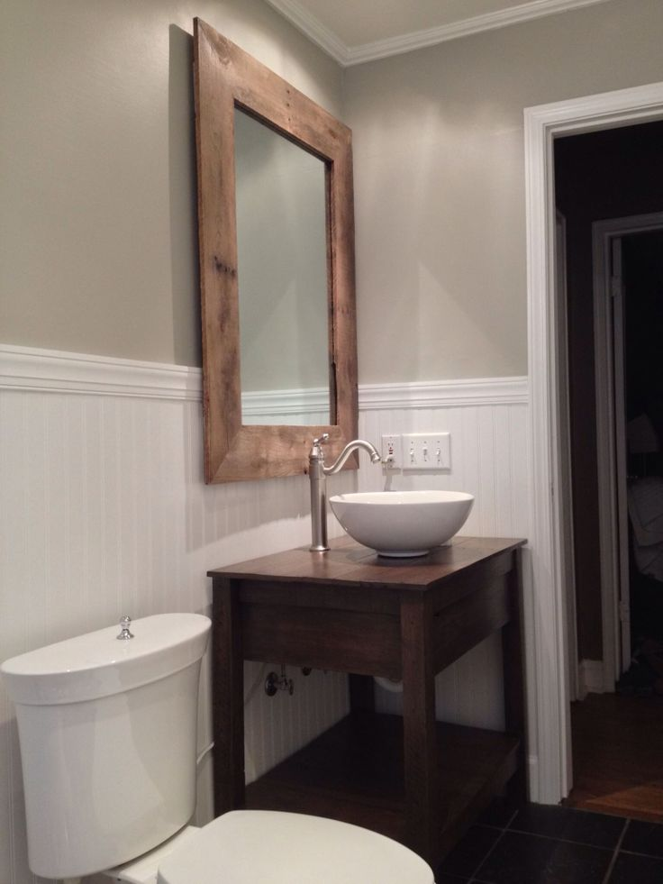 Pic On Custom rustic reclaimed wood vanity and mirror Pallet ideas and reclaimed wood furniture by Scrapwork