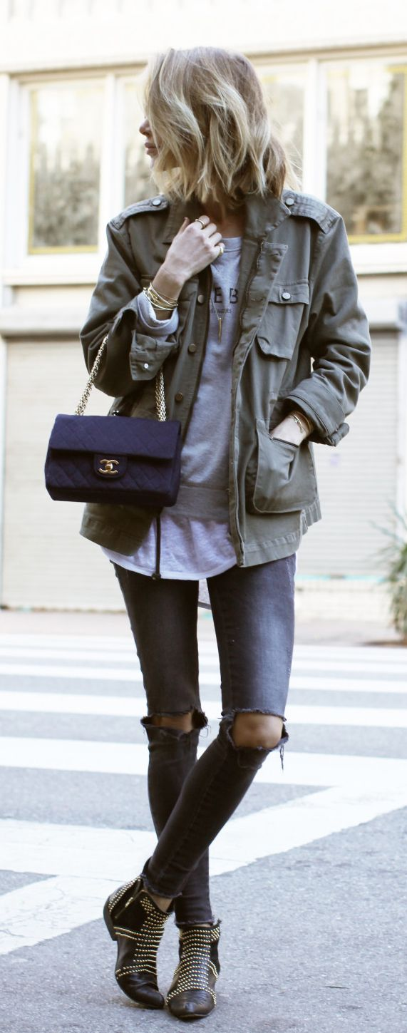 Military Trend: Anine Bing is wearing an oversized army jacket from Anine Bing