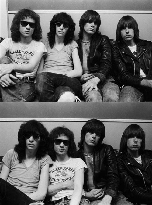 The Ramones backstage at the Bottom Line, NYC, May 1976.