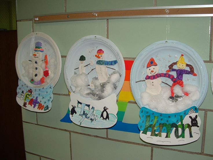 3D Plate Snow Globes: I could do a bulletin board with book covers and snowmen or snow. Cute craft.