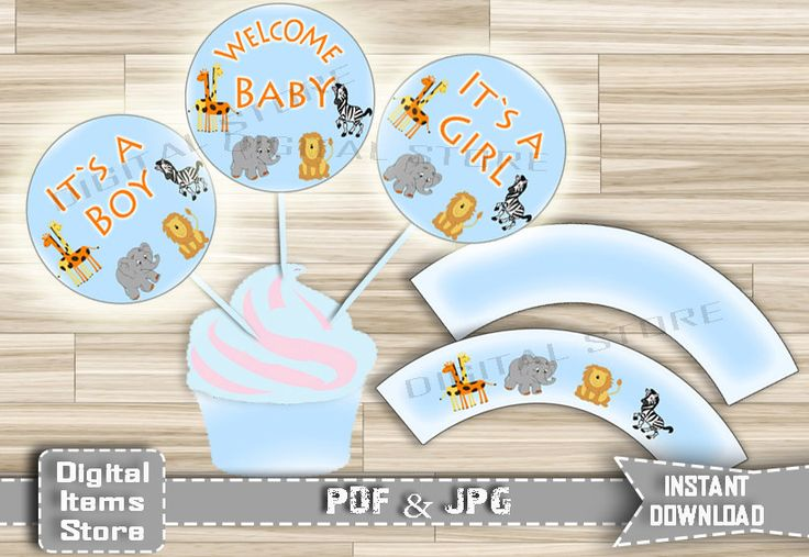 """Baby Shower Cupcake Toppers Printable Cupcake Wrappers Safari Animals """"Its a Boy"""" """"Its a Girl"""" - Party Toppers - Instant Download - sb1 by DigitalitemsShop on Etsy"""