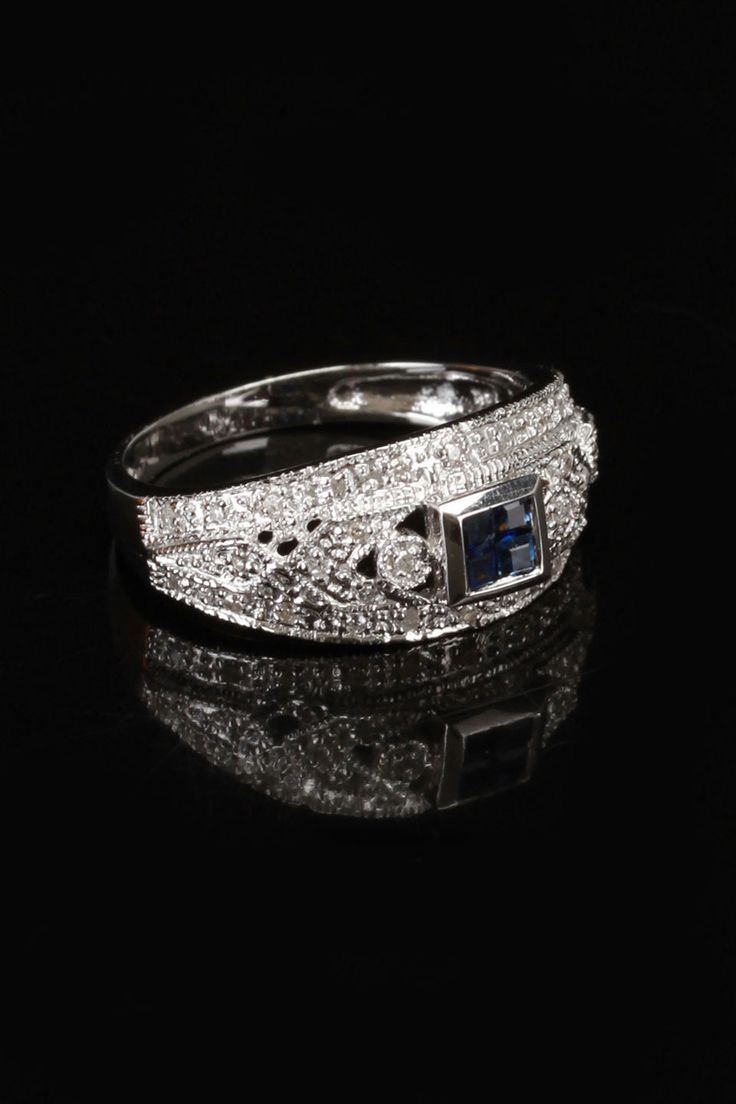 gold blowout 14k White Gold, 0.25 ct Diamond & Sapphire Ring